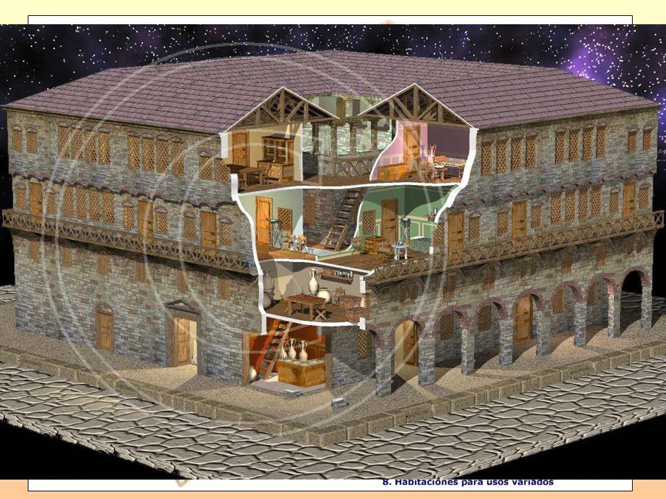 Casa: * Adinerada en torno al atrio: tablinium, triclinium, cubiculae, peristilum, tabernae,...