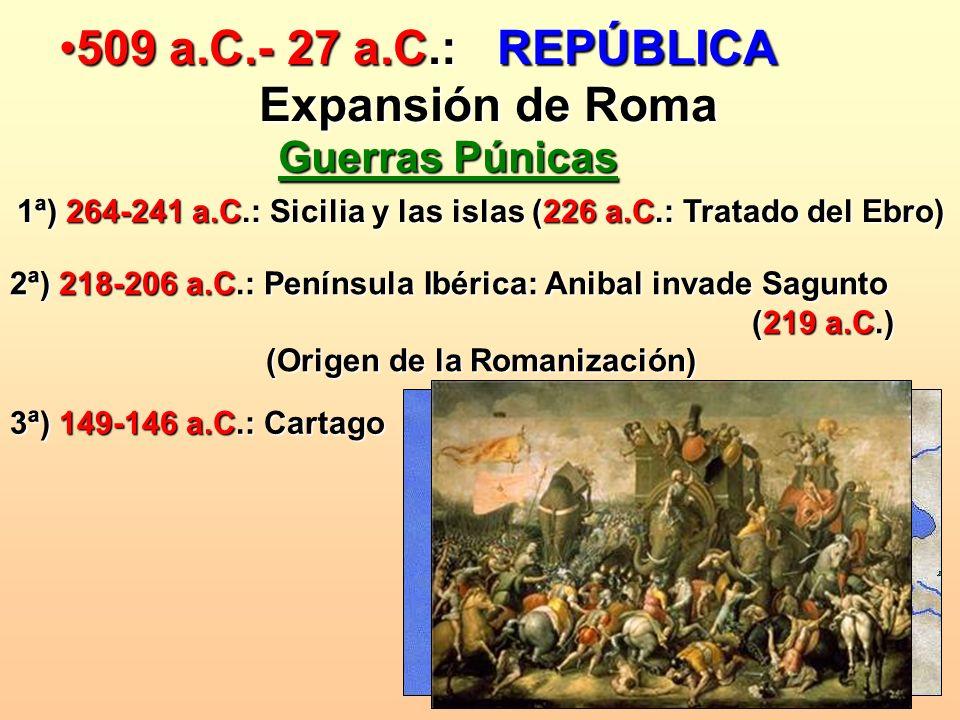 509 a.C.- 27 a.C.: REPÚBLICA Expansión de Roma Guerras Púnicas