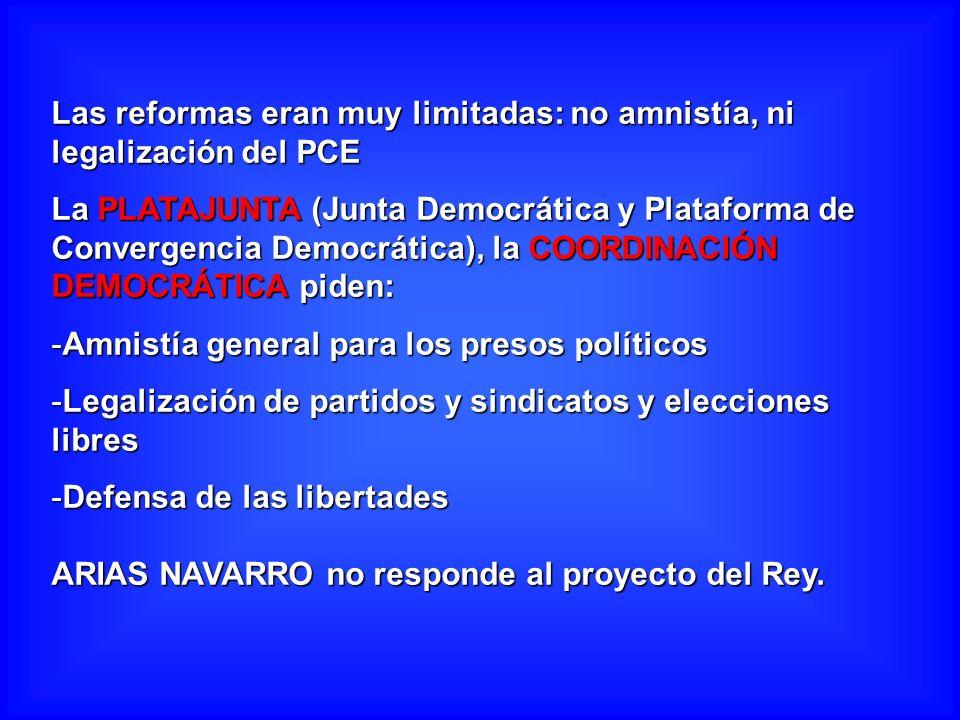 Las reformas eran muy limitadas: no amnistía, ni legalización del PCE