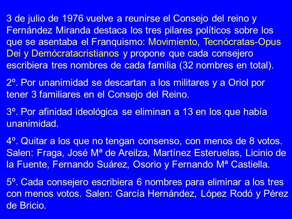 3 de julio de 1976 vuelve a reunirse el Consejo del reino y Fernández Miranda destaca los tres pilares políticos sobre los que se asentaba el Franquismo: Movimiento, Tecnócratas-Opus Dei y Demócratacristianos y propone que cada consejero escribiera tres nombres de cada familia (32 nombres en total).