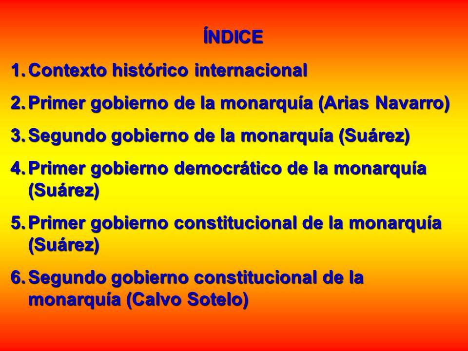 ÍNDICE Contexto histórico internacional. Primer gobierno de la monarquía (Arias Navarro) Segundo gobierno de la monarquía (Suárez)