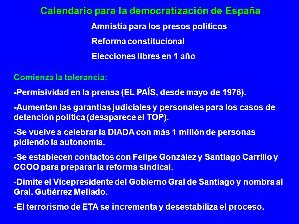 Calendario para la democratización de España