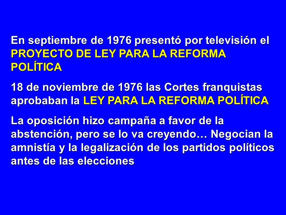 En septiembre de 1976 presentó por televisión el PROYECTO DE LEY PARA LA REFORMA POLÍTICA