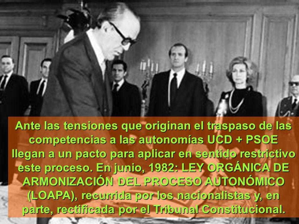 Ante las tensiones que originan el traspaso de las competencias a las autonomías UCD + PSOE llegan a un pacto para aplicar en sentido restrictivo este proceso.