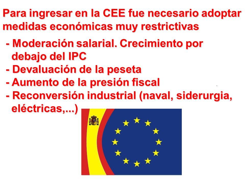 Para ingresar en la CEE fue necesario adoptar medidas económicas muy restrictivas