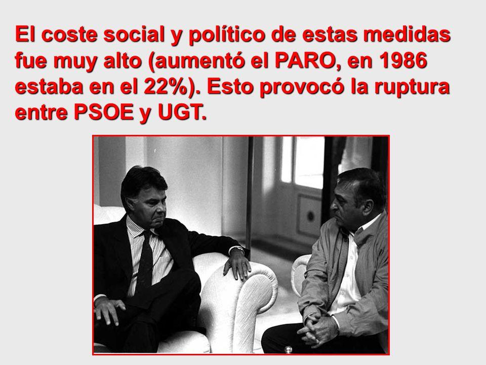 El coste social y político de estas medidas fue muy alto (aumentó el PARO, en 1986 estaba en el 22%).