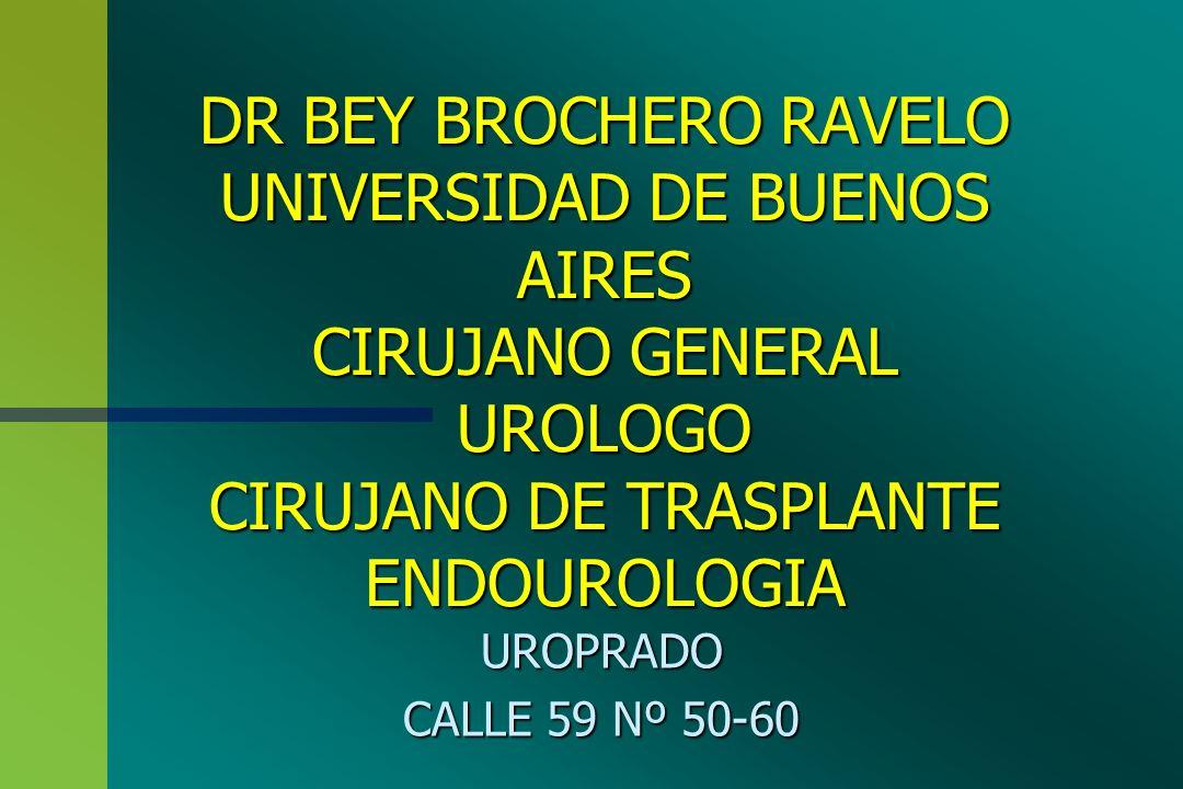DR BEY BROCHERO RAVELO UNIVERSIDAD DE BUENOS AIRES CIRUJANO GENERAL UROLOGO CIRUJANO DE TRASPLANTE ENDOUROLOGIA