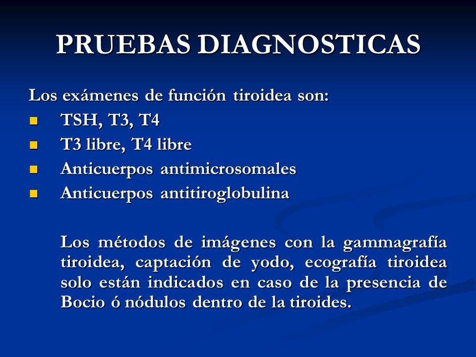 PRUEBAS DIAGNOSTICAS Los exámenes de función tiroidea son: TSH, T3, T4