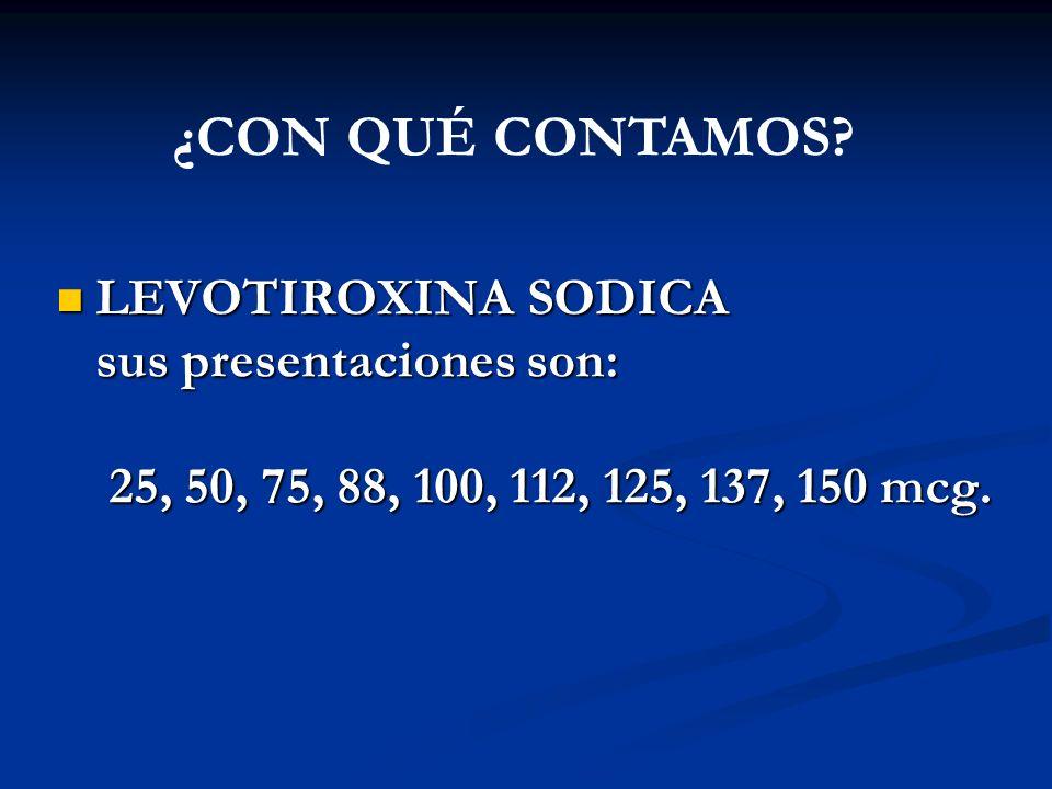 ¿CON QUÉ CONTAMOS LEVOTIROXINA SODICA sus presentaciones son: