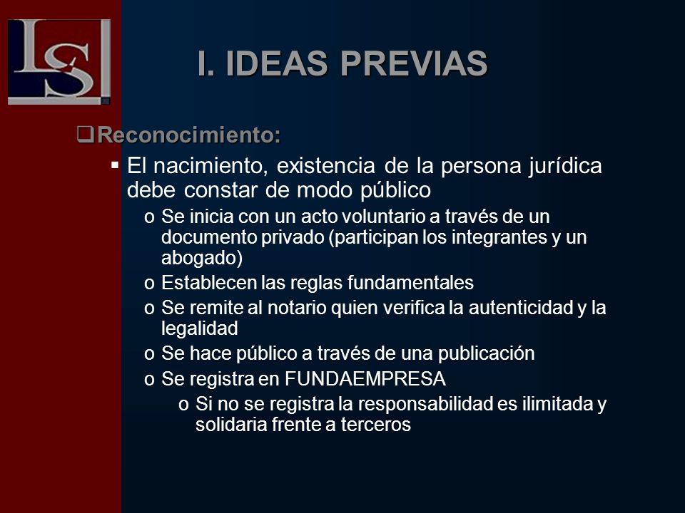 I. IDEAS PREVIAS Reconocimiento: