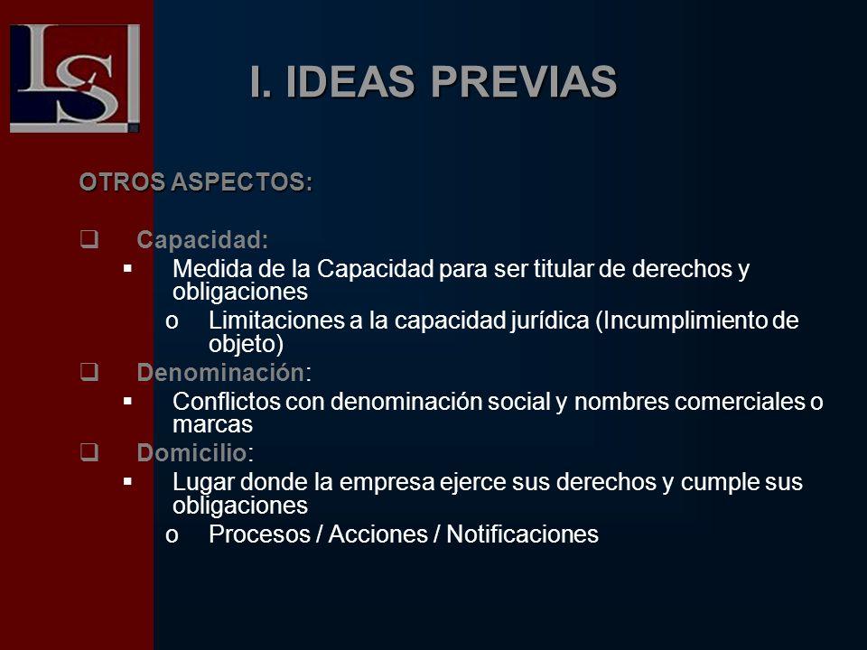 I. IDEAS PREVIAS OTROS ASPECTOS: Capacidad: