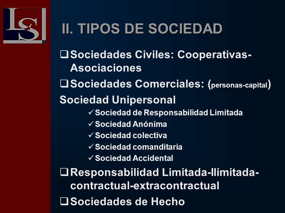 II. TIPOS DE SOCIEDAD Sociedades Civiles: Cooperativas- Asociaciones