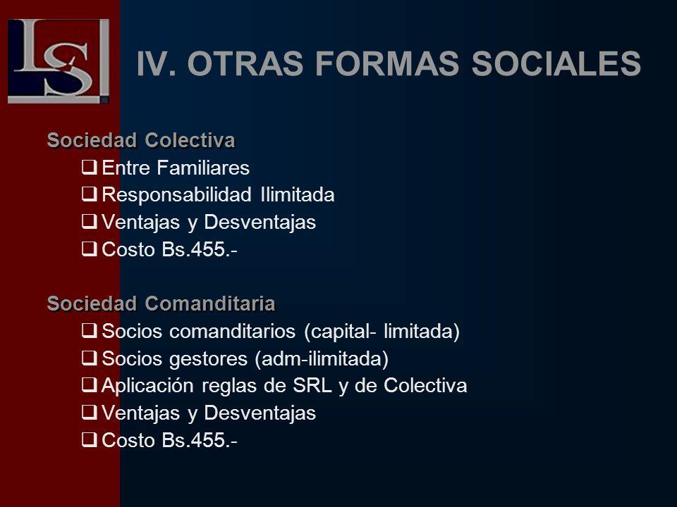 IV. OTRAS FORMAS SOCIALES