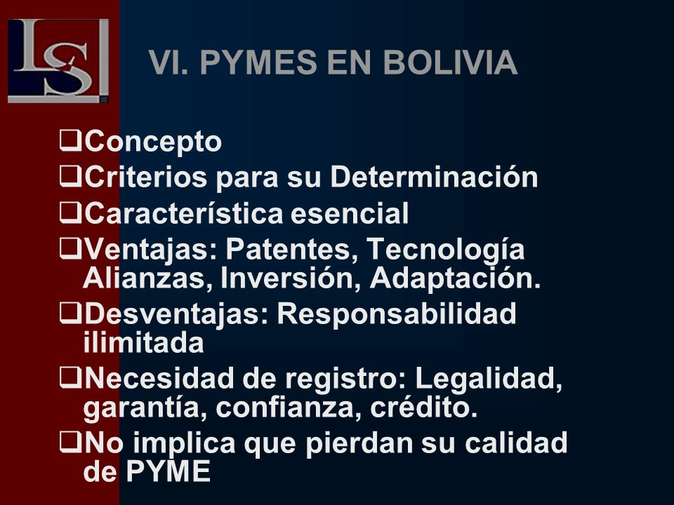 VI. PYMES EN BOLIVIA Concepto Criterios para su Determinación