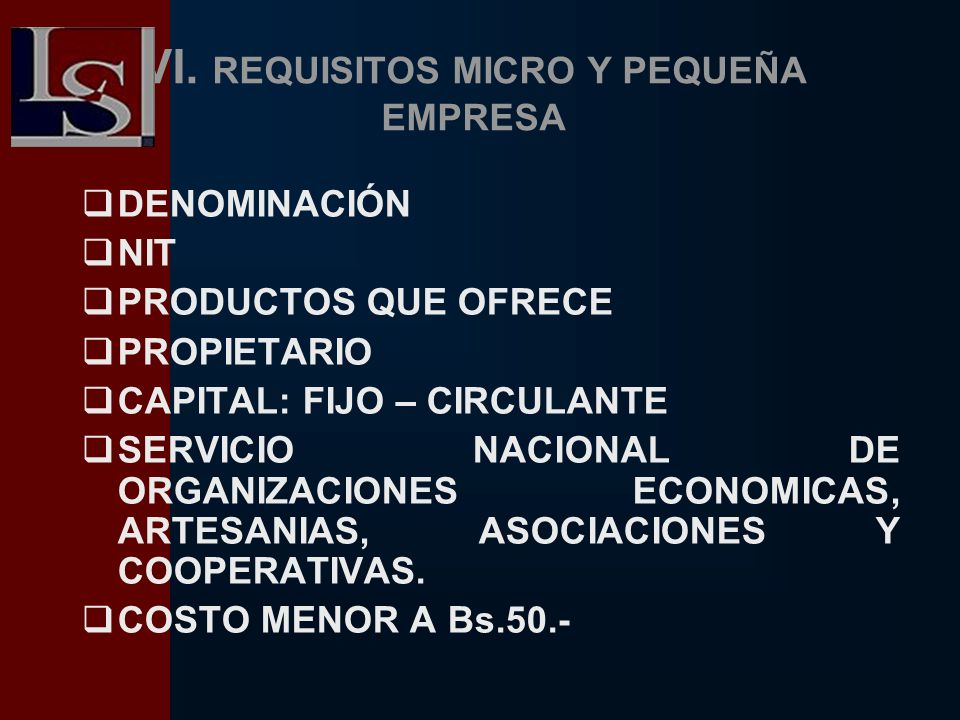 VI. REQUISITOS MICRO Y PEQUEÑA EMPRESA