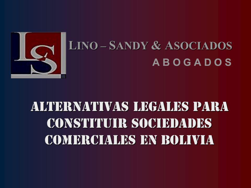 ALTERNATIVAS LEGALES PARA CONSTITUIR SOCIEDADES COMERCIALES EN BOLIVIA