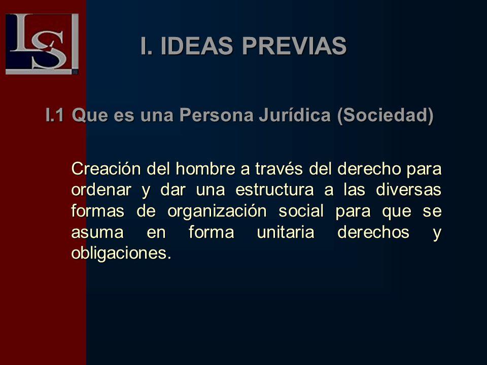 I. IDEAS PREVIAS I.1 Que es una Persona Jurídica (Sociedad)