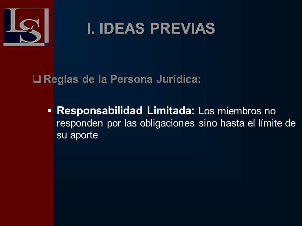 I. IDEAS PREVIAS Reglas de la Persona Jurídica: