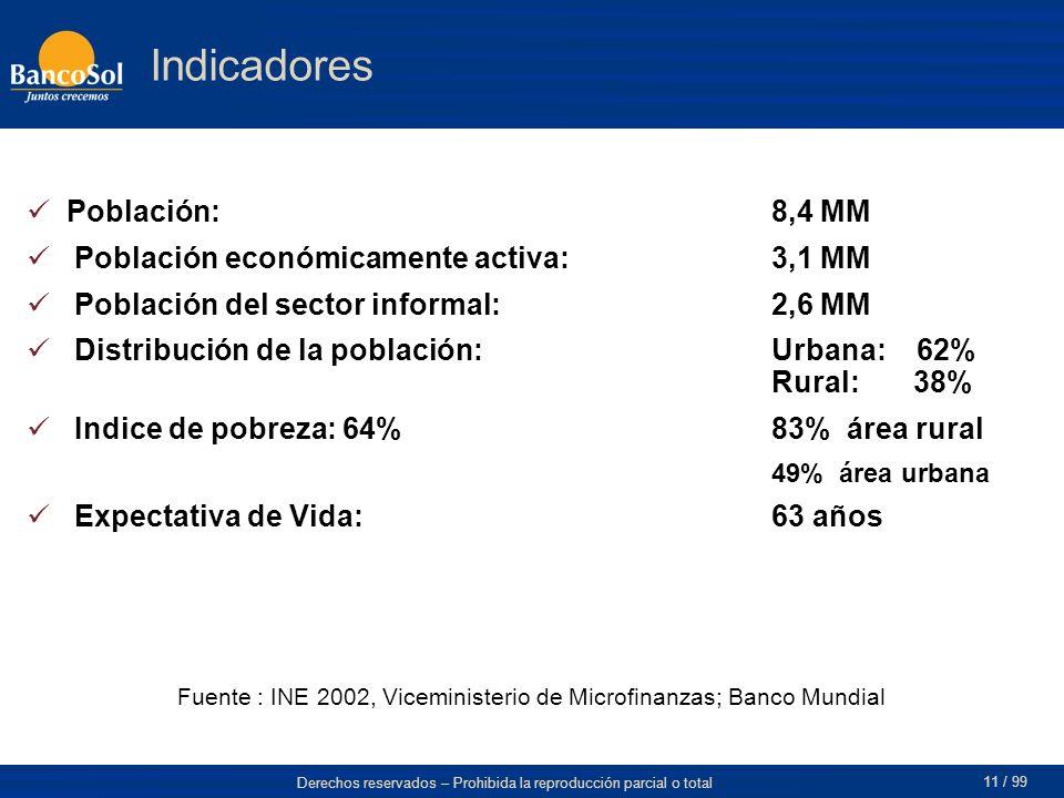 Fuente : INE 2002, Viceministerio de Microfinanzas; Banco Mundial