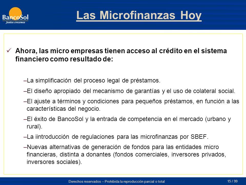 Las Microfinanzas Hoy Ahora, las micro empresas tienen acceso al crédito en el sistema financiero como resultado de: