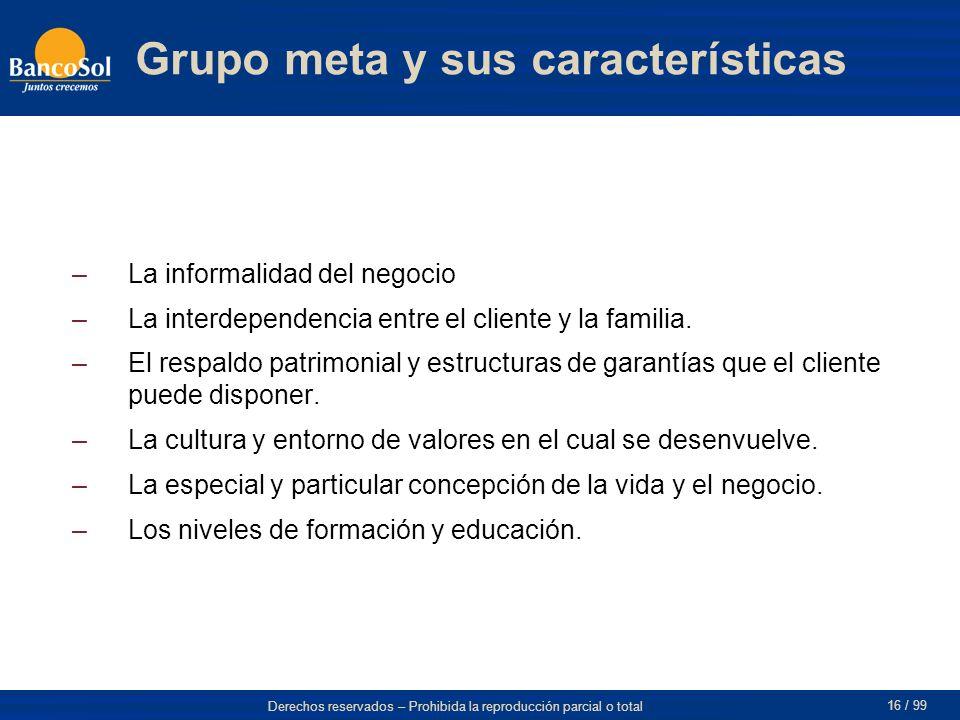 Grupo meta y sus características