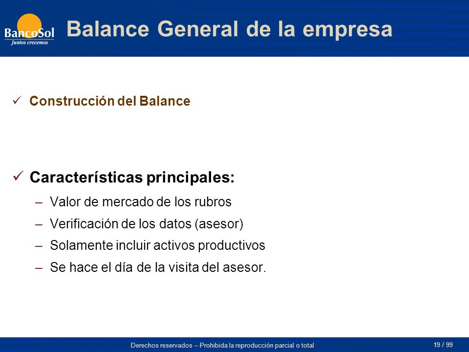Balance General de la empresa