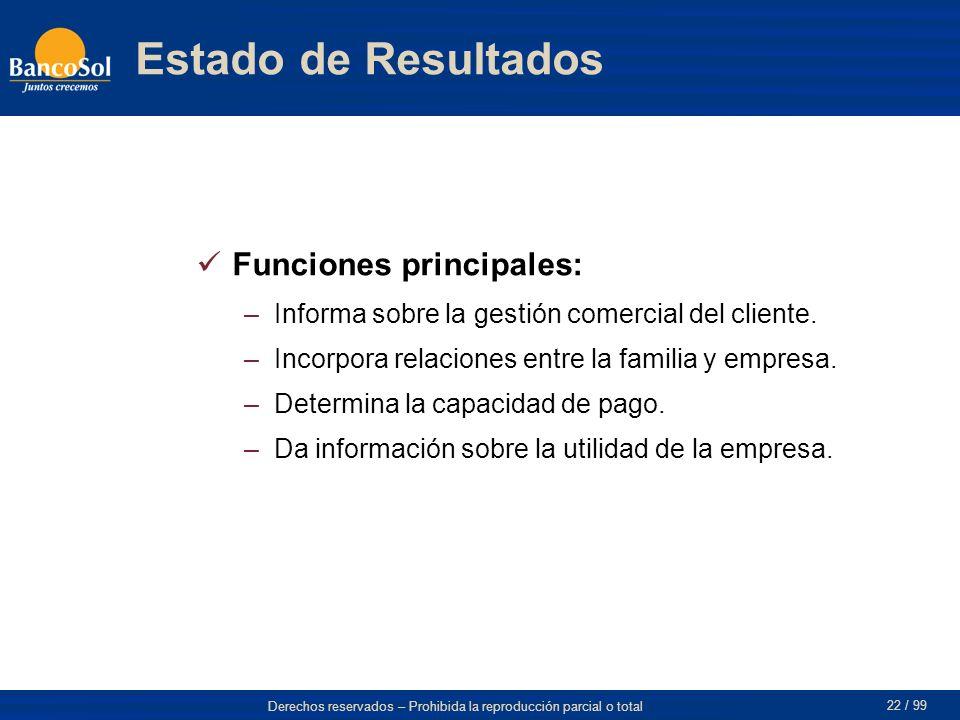 Estado de Resultados Funciones principales: