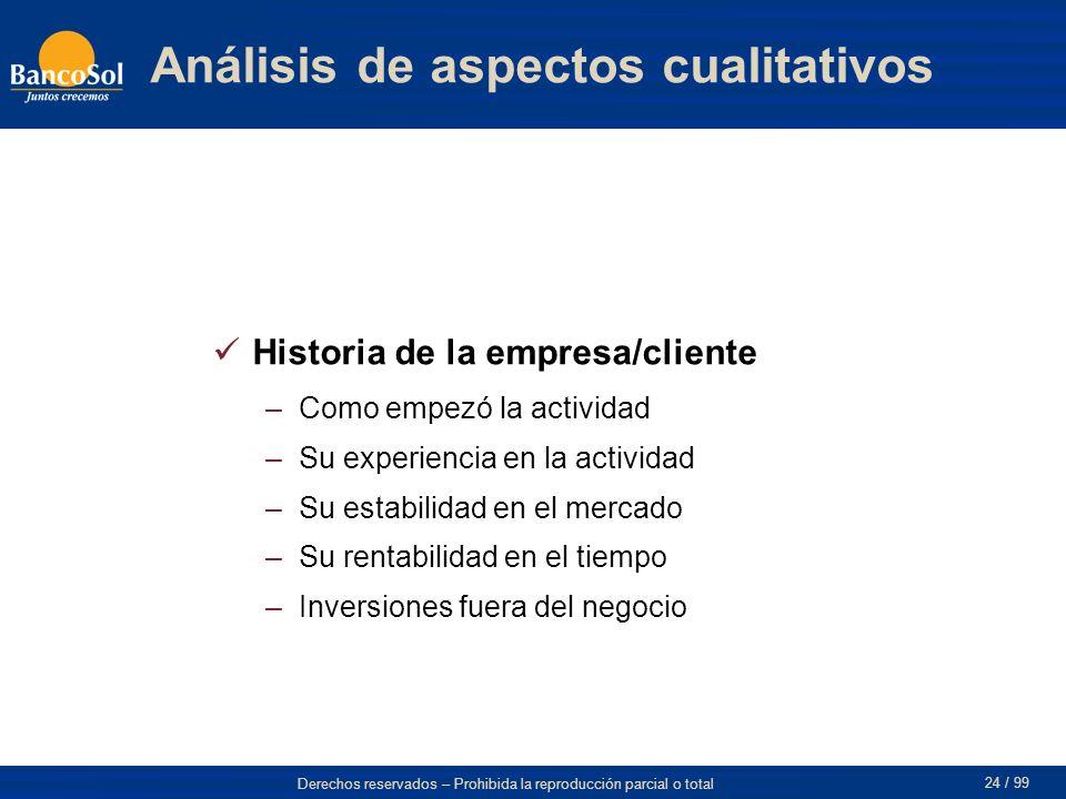 Análisis de aspectos cualitativos