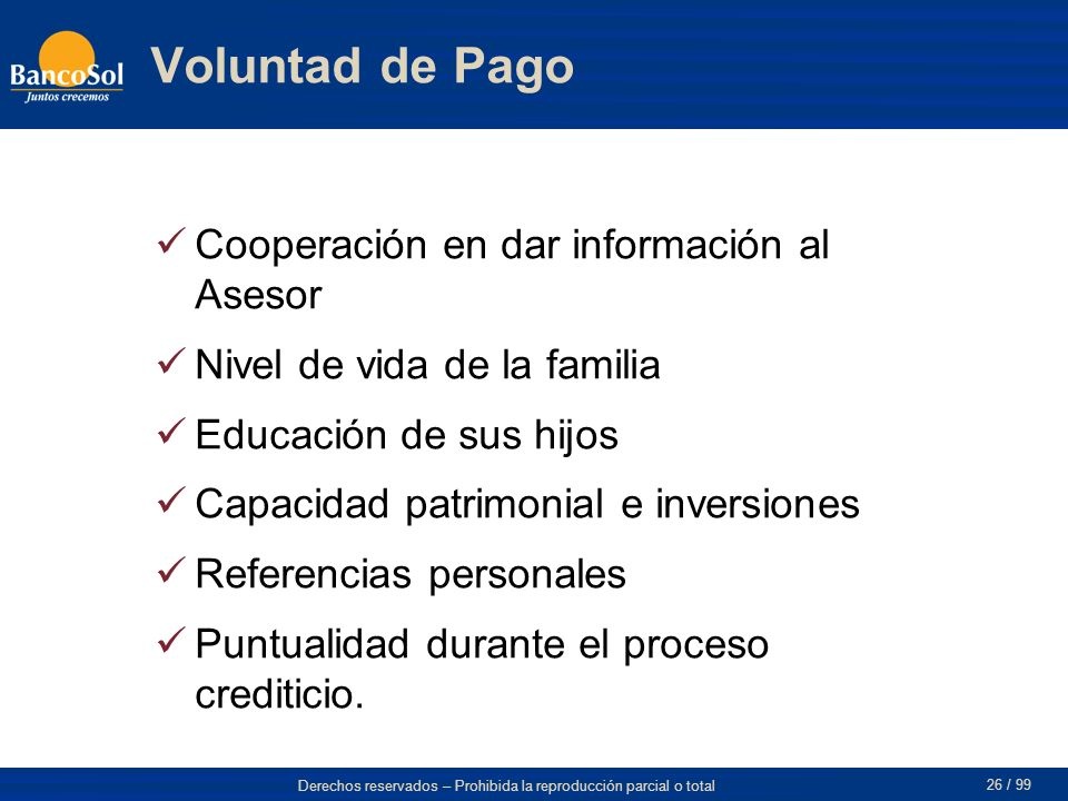 Voluntad de Pago Cooperación en dar información al Asesor