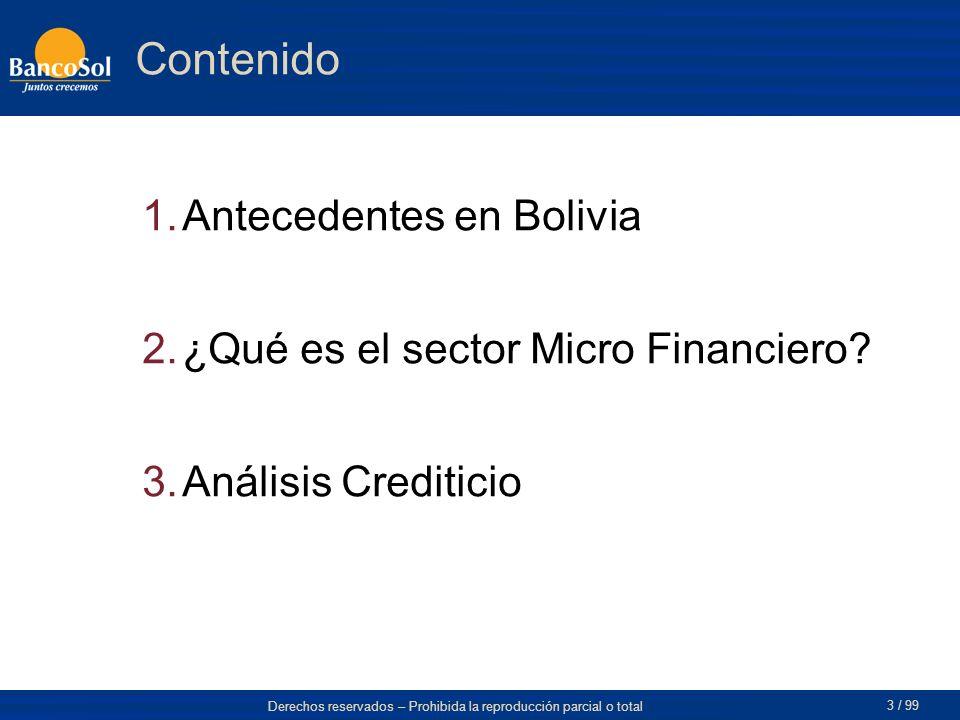 Contenido Antecedentes en Bolivia ¿Qué es el sector Micro Financiero