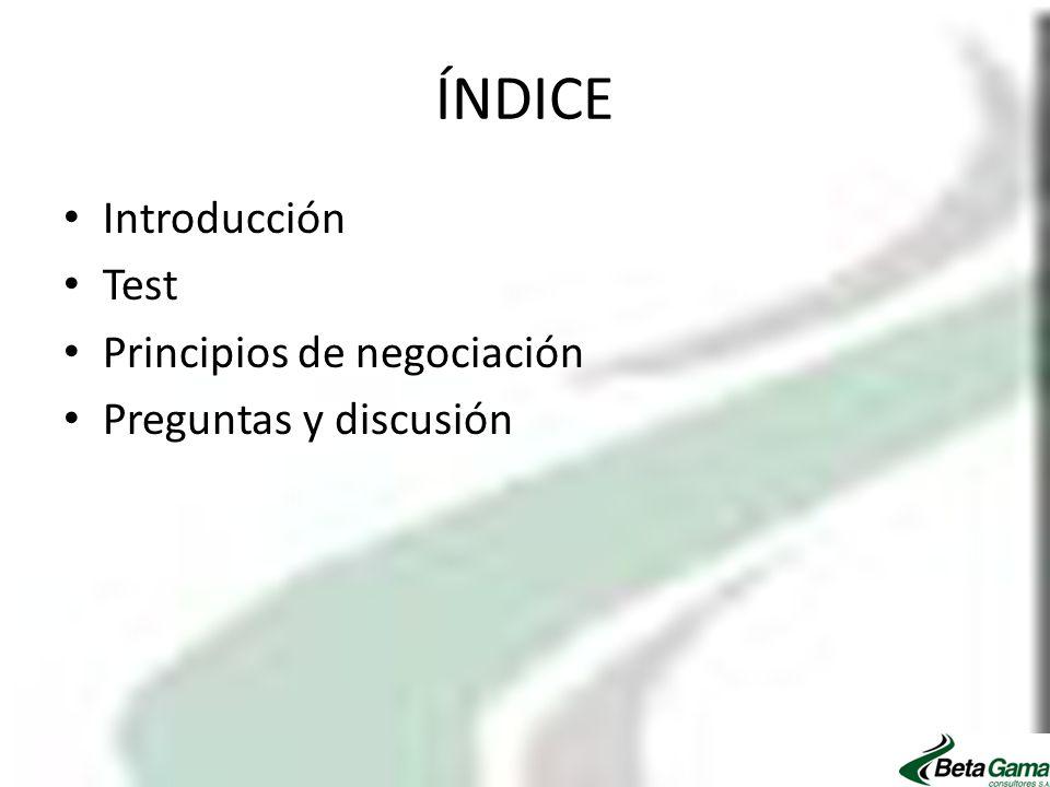 ÍNDICE Introducción Test Principios de negociación