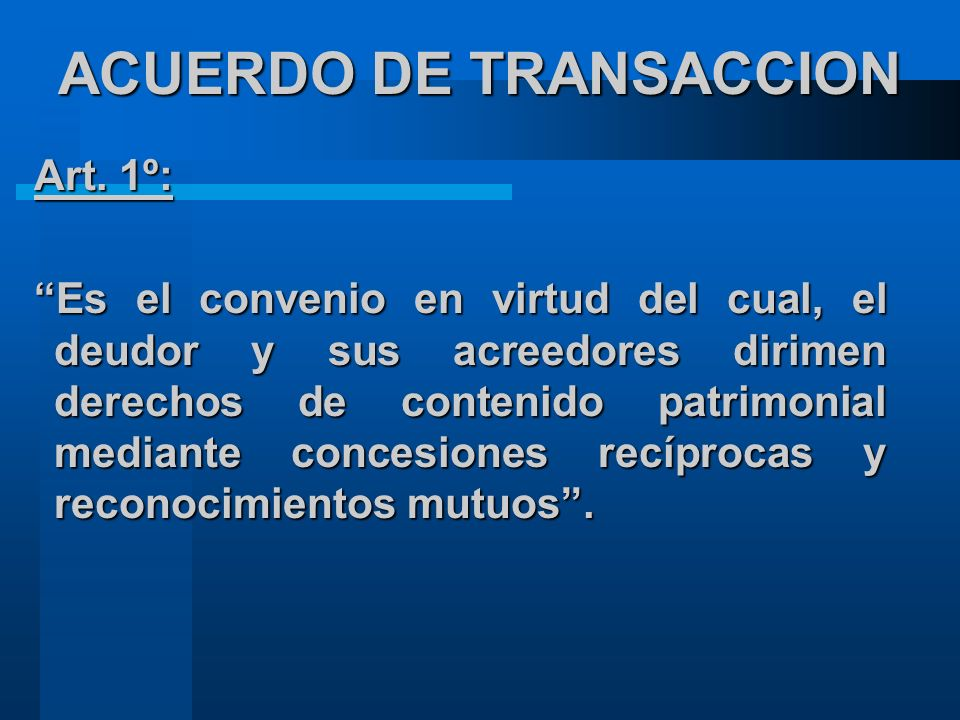 ACUERDO DE TRANSACCION
