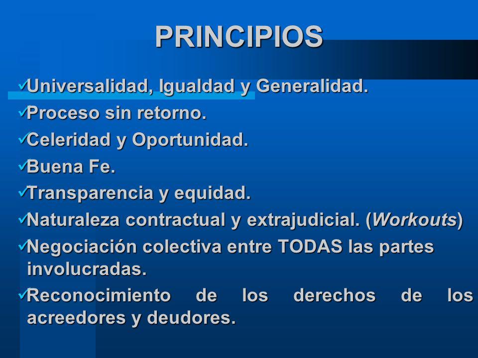 PRINCIPIOS Universalidad, Igualdad y Generalidad. Proceso sin retorno.