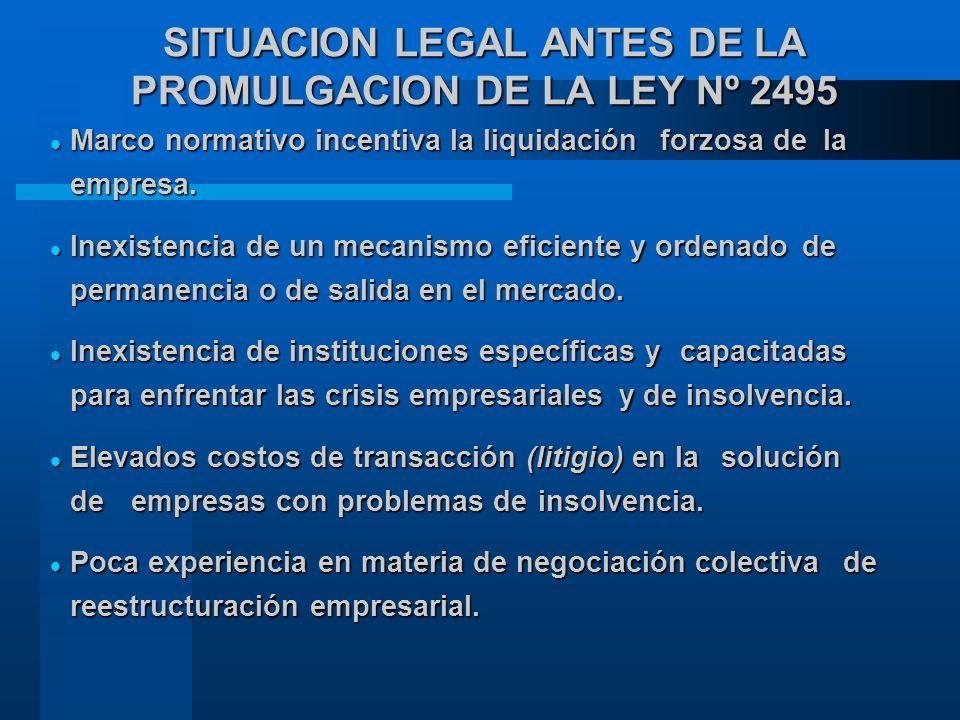 SITUACION LEGAL ANTES DE LA PROMULGACION DE LA LEY Nº 2495