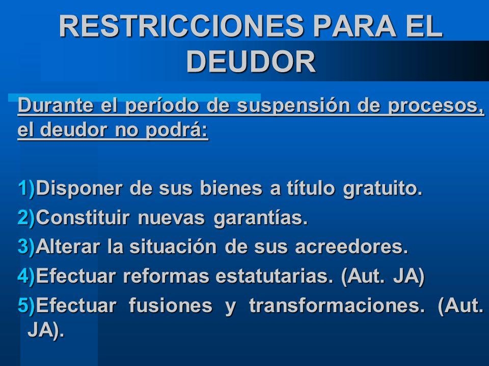 RESTRICCIONES PARA EL DEUDOR