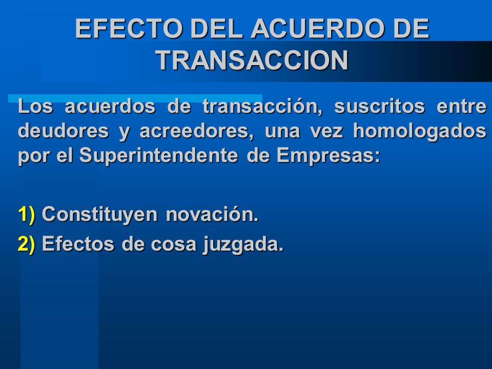 EFECTO DEL ACUERDO DE TRANSACCION