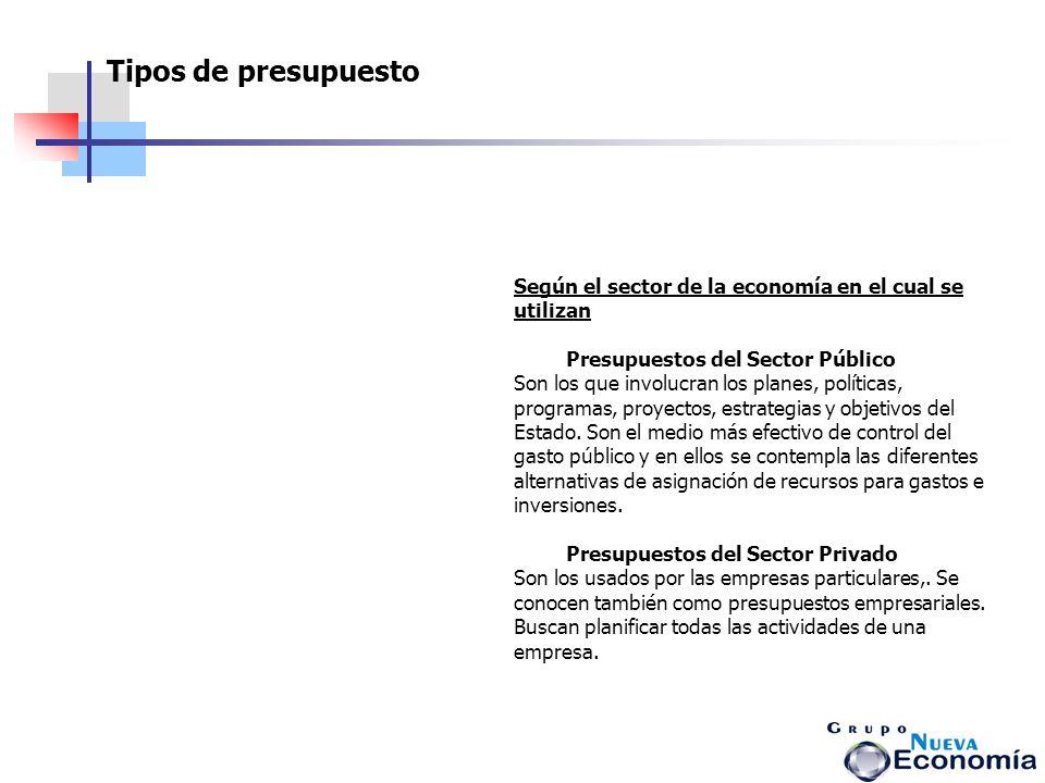 Tipos de presupuesto Según el sector de la economía en el cual se utilizan. Presupuestos del Sector Público.