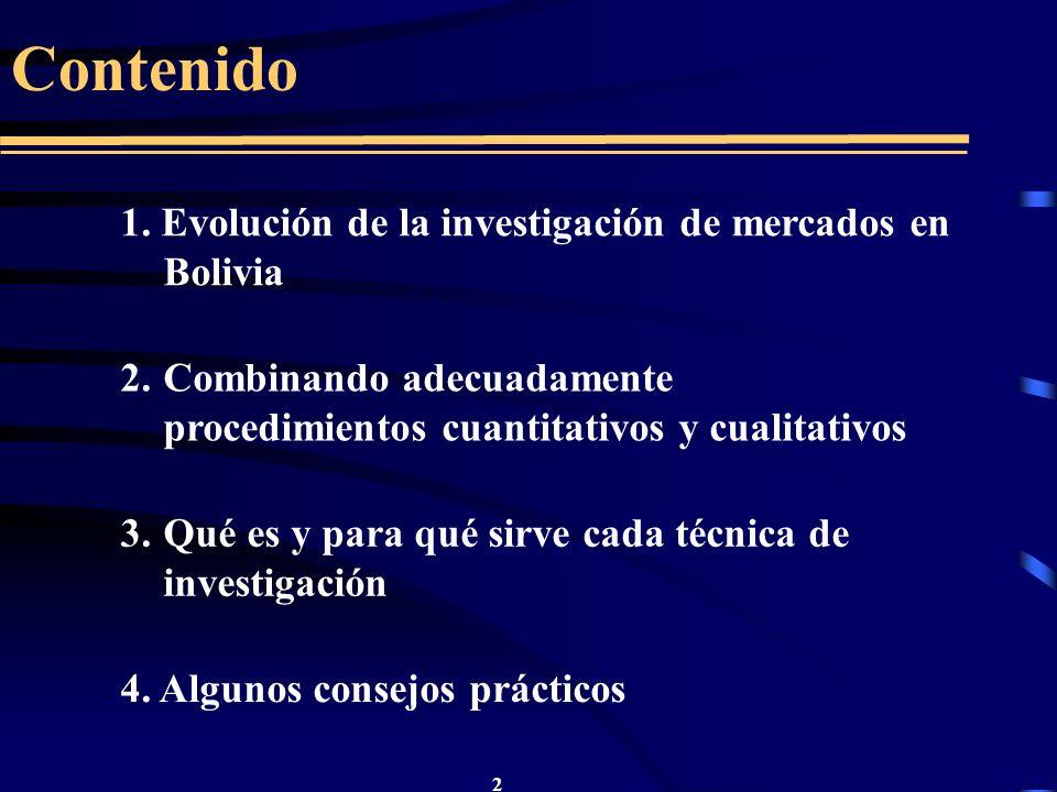 Contenido 1. Evolución de la investigación de mercados en Bolivia