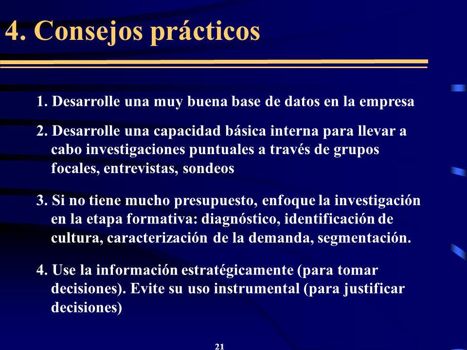4. Consejos prácticos 1. Desarrolle una muy buena base de datos en la empresa.