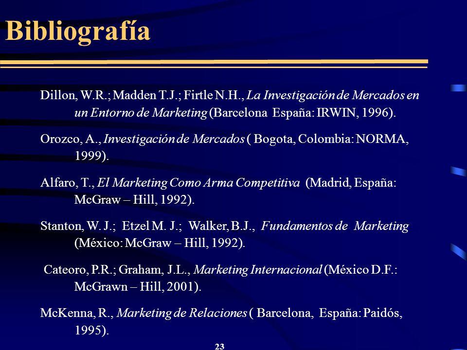 Bibliografía Dillon, W.R.; Madden T.J.; Firtle N.H., La Investigación de Mercados en un Entorno de Marketing (Barcelona España: IRWIN, 1996).