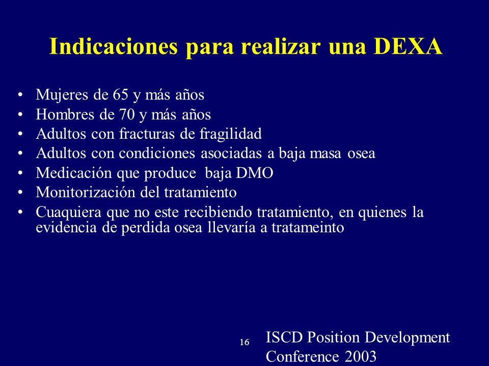 Indicaciones para realizar una DEXA