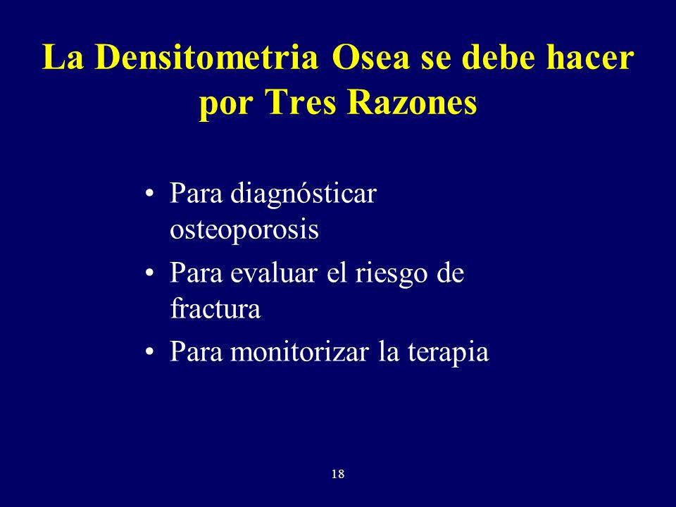 La Densitometria Osea se debe hacer por Tres Razones