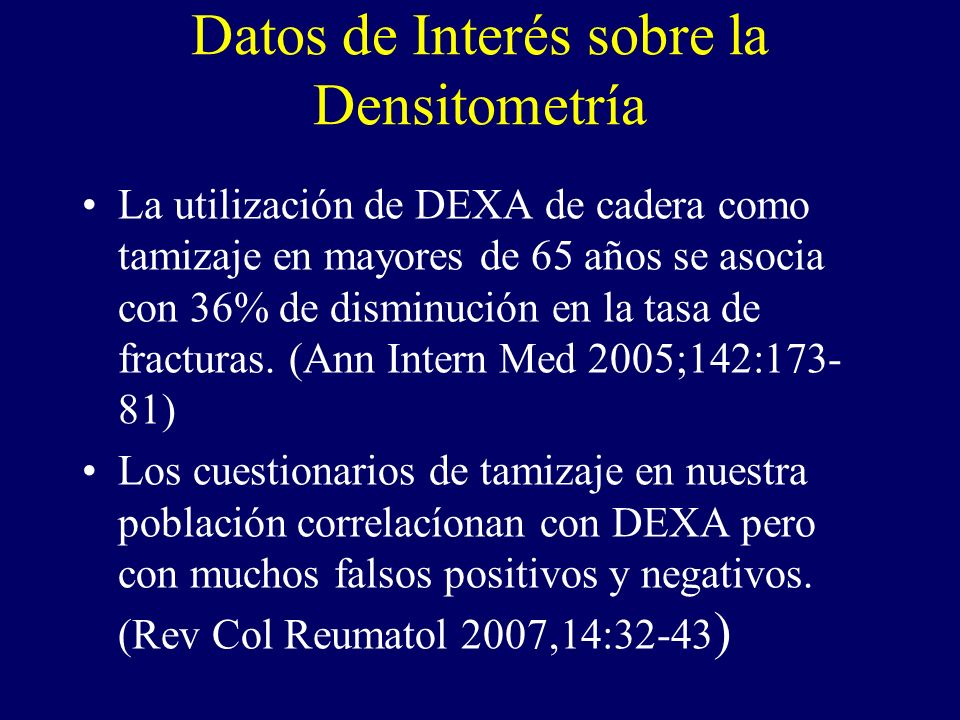 Datos de Interés sobre la Densitometría