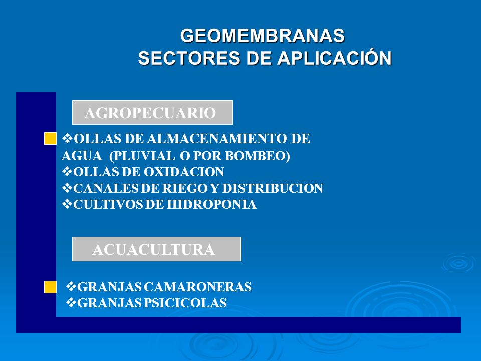 GEOMEMBRANAS SECTORES DE APLICACIÓN