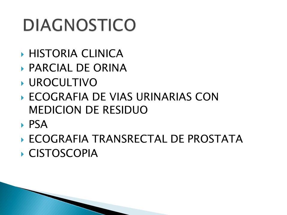 DIAGNOSTICO HISTORIA CLINICA PARCIAL DE ORINA UROCULTIVO