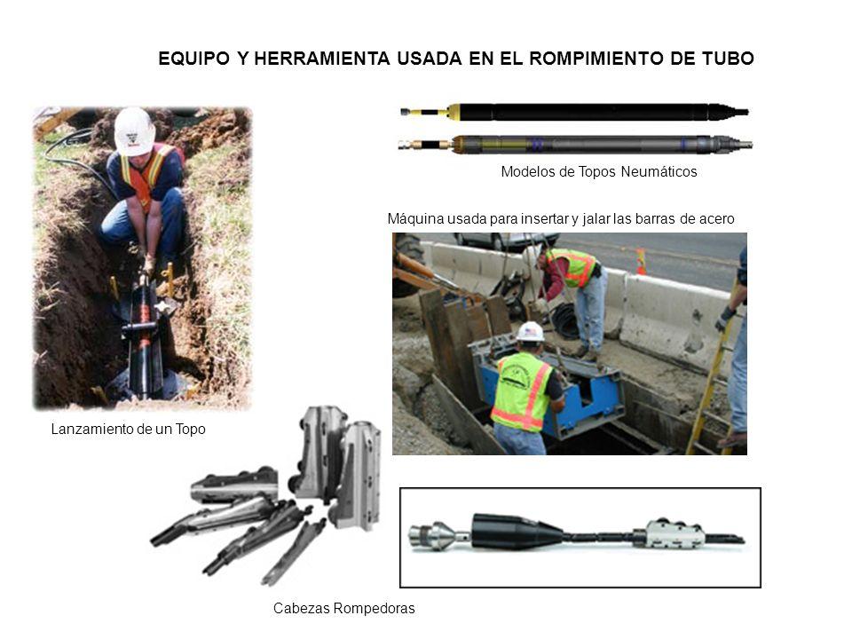 EQUIPO Y HERRAMIENTA USADA EN EL ROMPIMIENTO DE TUBO