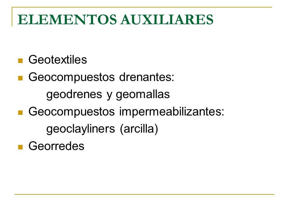 ELEMENTOS AUXILIARES Geotextiles Geocompuestos drenantes: