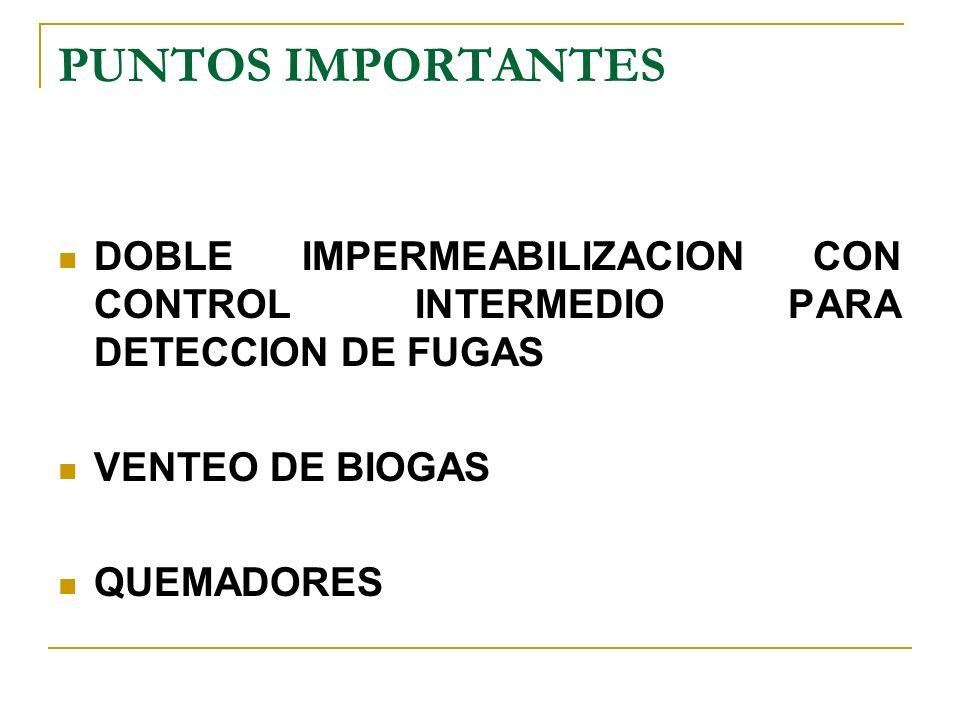 PUNTOS IMPORTANTES DOBLE IMPERMEABILIZACION CON CONTROL INTERMEDIO PARA DETECCION DE FUGAS. VENTEO DE BIOGAS.