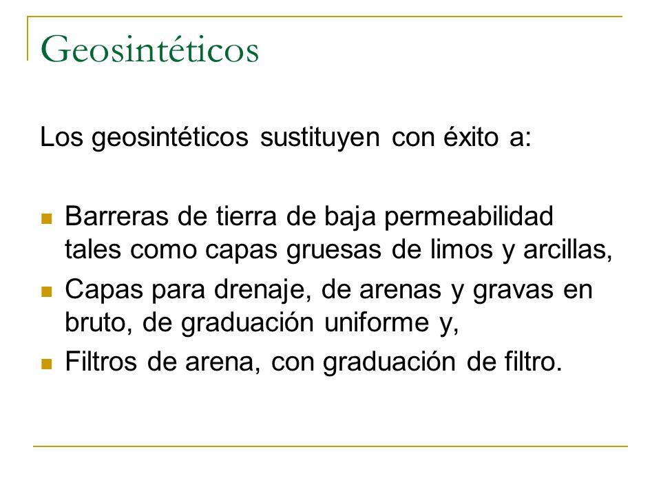 Geosintéticos Los geosintéticos sustituyen con éxito a: