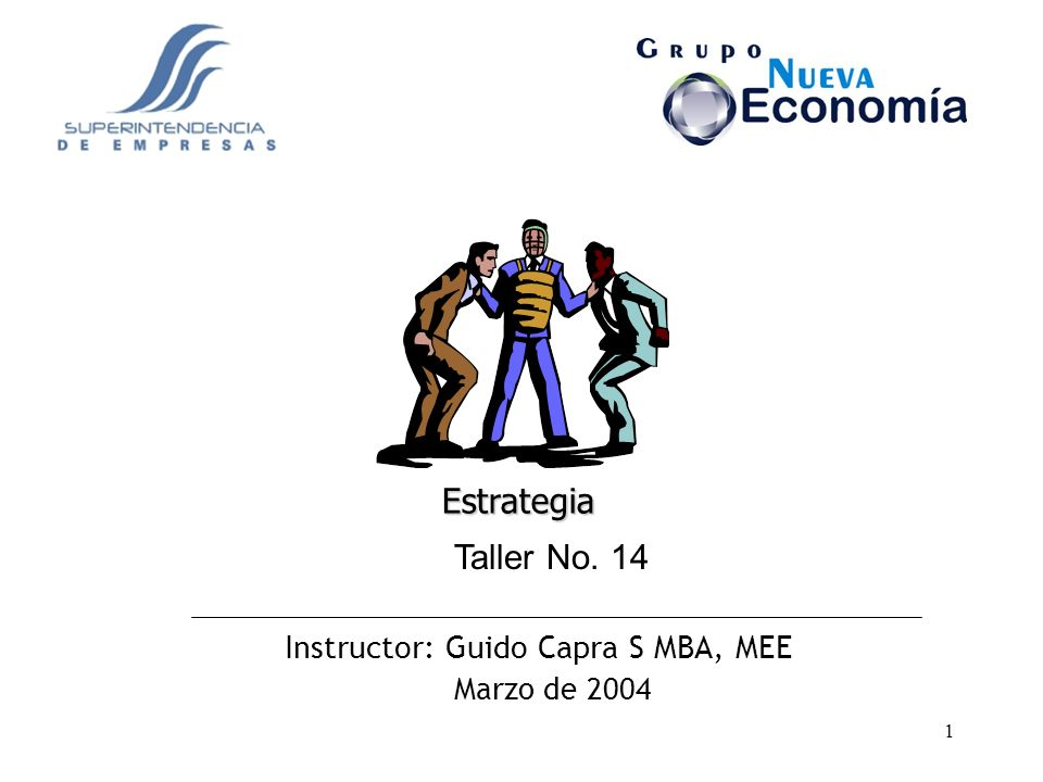 Estrategia Taller No. 14 Instructor: Guido Capra S MBA, MEE